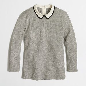 J crew factory 3/4 sleeve tipped collared top XS